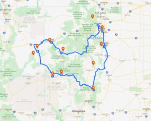 Colorado des Rocheuses à l'Utah et Rio Grande 1 Carte clorado