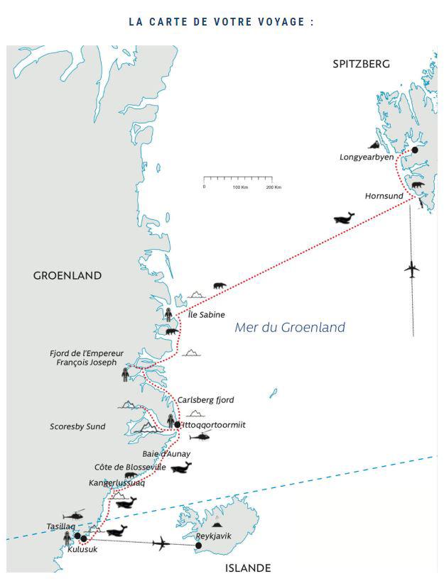 Croisière Est Groenland, la Riviera Polaire 1 expeditions polaires carte croisiere est groenland la riviera polaire