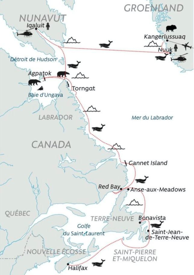 Du Groenland à Saint-Pierre-et-Miquelon 1 expeditions polaires carte du groenland a saint pierre et miquelon
