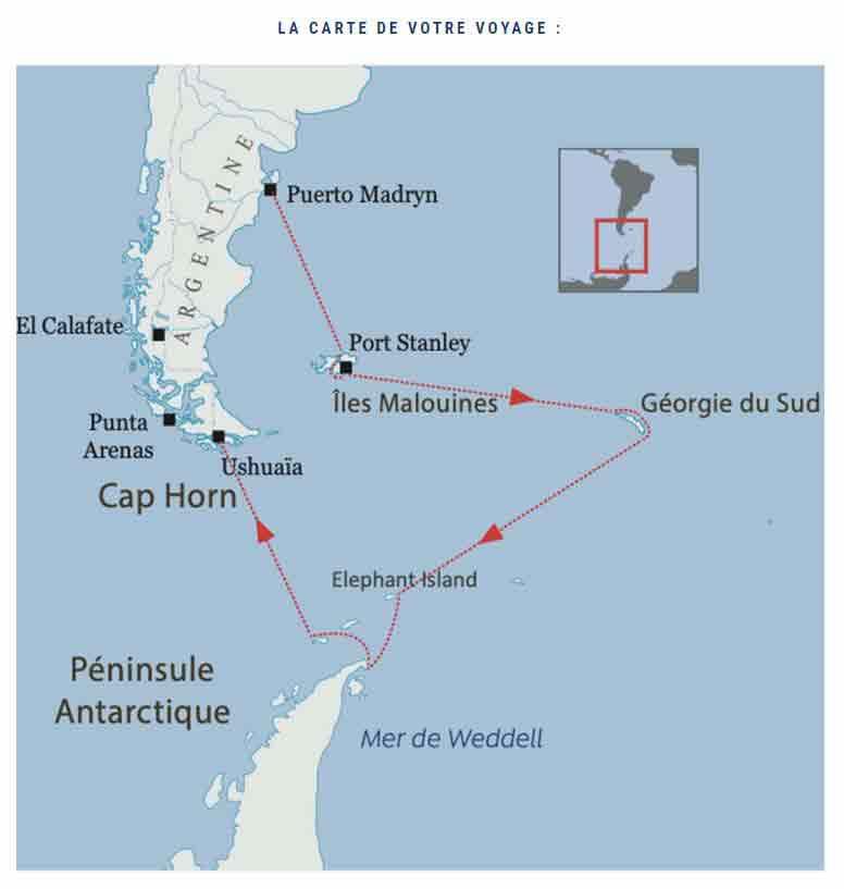 La grande croisière Antarctique - Géorgie du Sud 1 expeditions polaires carte grande croisiere antarctique georgie du sud
